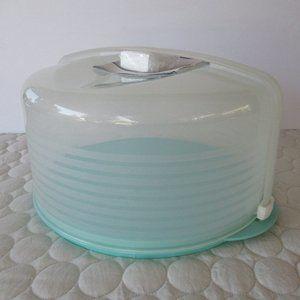 Tupperware Round Aqua Cake Taker